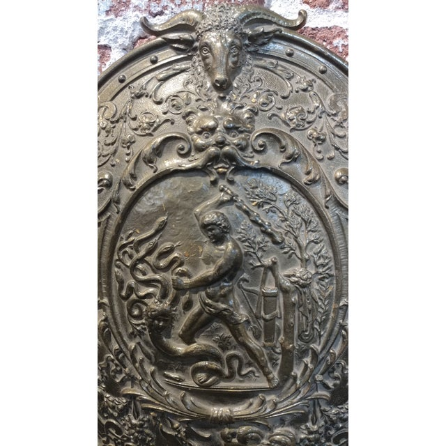 Vintage Mythological Bronze Wall Plaque Shields - A Pair For Sale - Image 4 of 9
