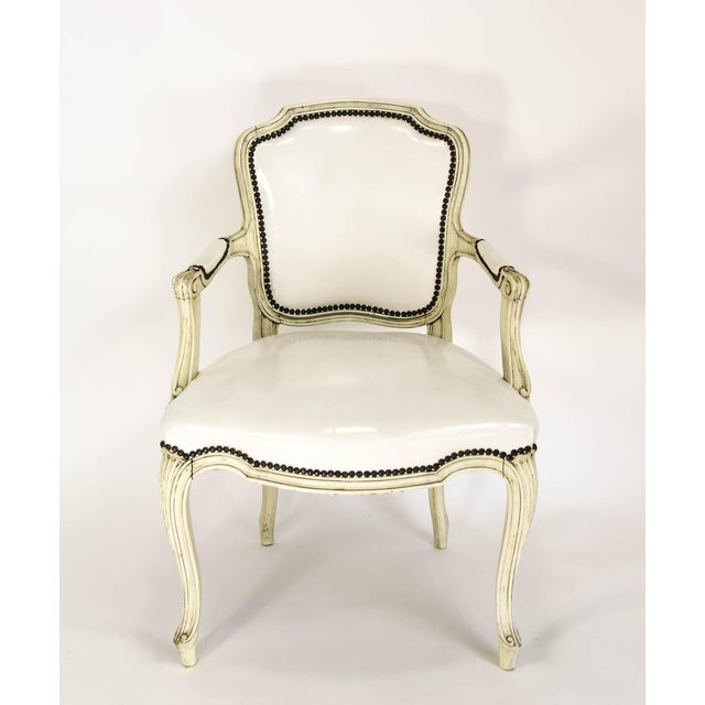 Mid-20th Century Boho Chic Carved Wood and White Leather Arm Chairs - a Pair - Image 5 of 13
