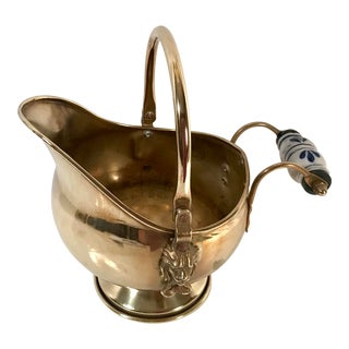 Vintage Irish Brass and Flo Blue Coal Shuttle For Sale