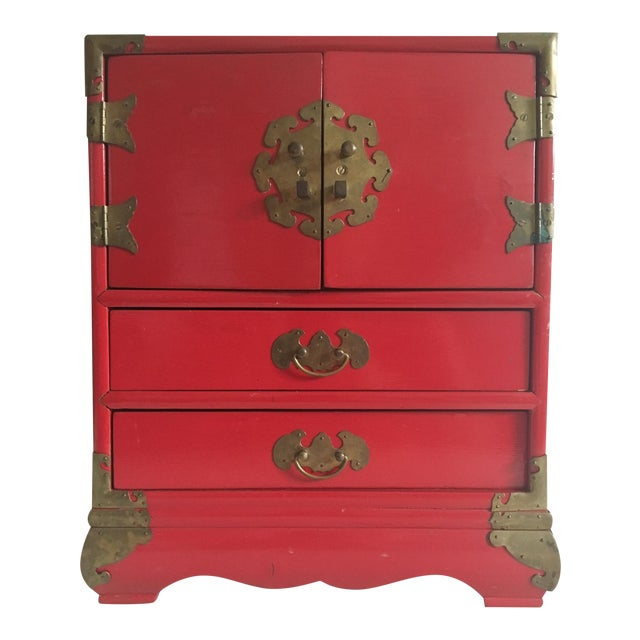 Vintage Red Lacquer Tansu Chest Jewelry Box - Image 1 of 11