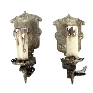 Early 20th Century Antique Cast Iron Arts & Crafts Sconces - a Pair For Sale
