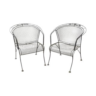 Woodard Briarwood Black Wrought Iron Patio Arm Chairs - A Pair