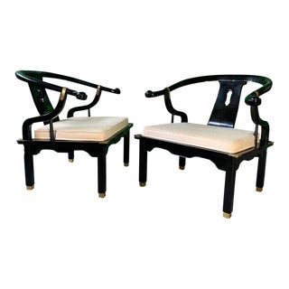 Pair of James Mont Style Horseshoe Chairs by Century For Sale
