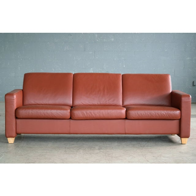 Leather Danish Mid Century Modern Sofa in Brown Leather For Sale - Image 7 of 9