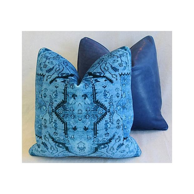"Blue Ralph Lauren Royal Blue Velvet Tapestry & Edelman Leather Pillows 20"" Square - Pair For Sale - Image 8 of 12"