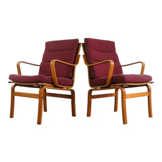 Mid Century Modern Bentwood Lounge Chairs by Gote Mobler, Sweden For Sale