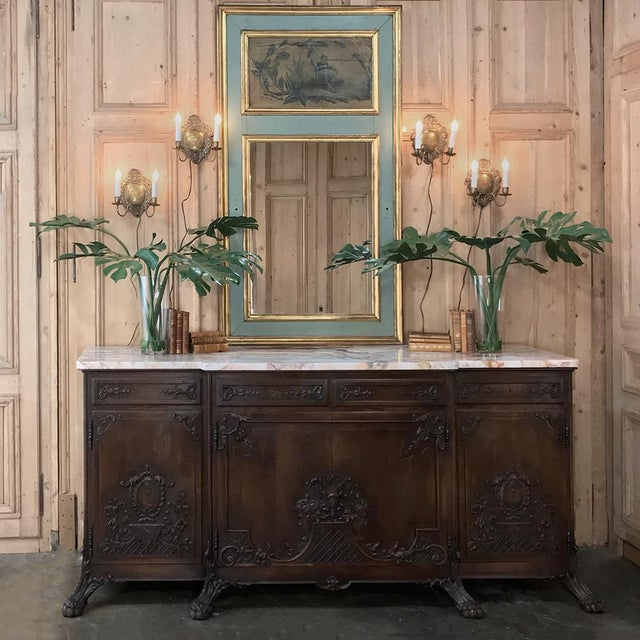 Baroque 19th Century French Louis XIV Marble Top Buffet For Sale - Image 3 of 13