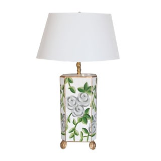 Dana Gibson White Chintz Lamp For Sale