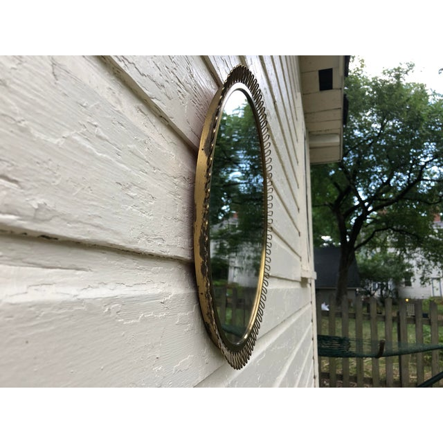 Brass Italian Gio Ponti Inspired Round Brass Mirror For Sale - Image 8 of 11