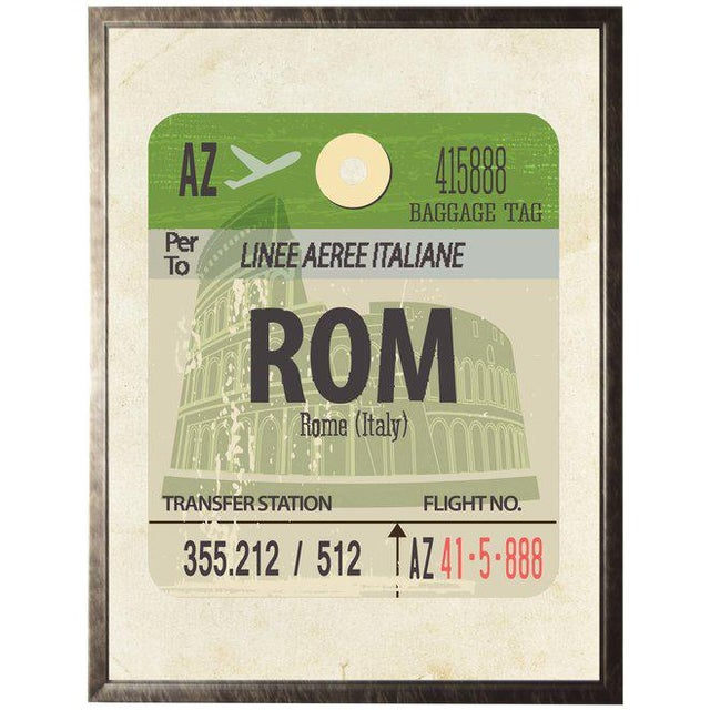 Presenting a Rome Travel Ticket on distressed background framed in a pewter shadowbox.