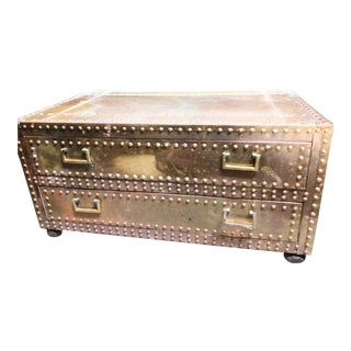 Vintage Sarried Solid Brass Riveted 2 Drawer Trunk For Sale