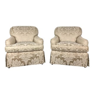 Baker Classic English Skirted Club Chairs in Silk Damask For Sale