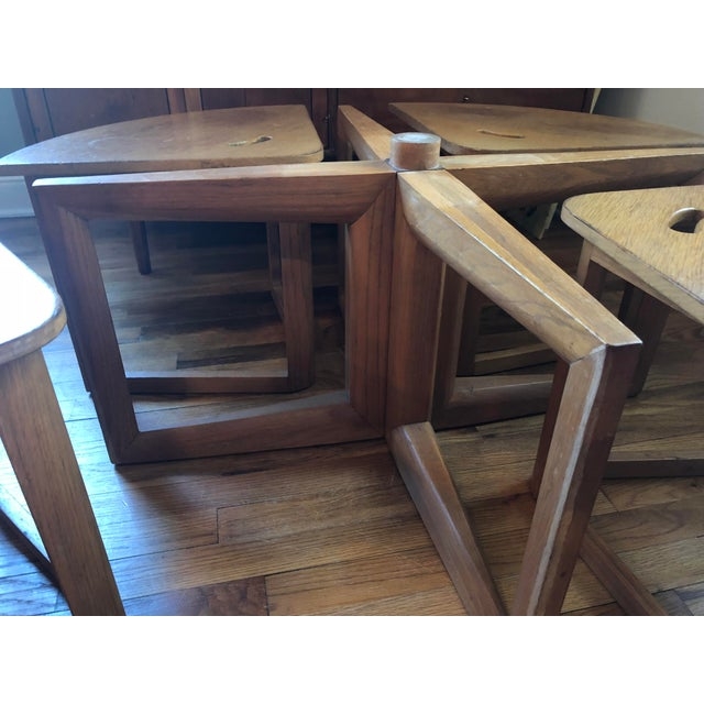 Brown Mid-Century Modern Handmade Oak Coffee Table Chair Set For Sale - Image 8 of 9