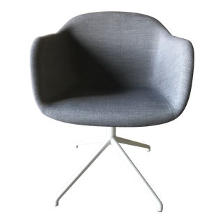 Minimalistic Muuto Fiber Gray Fabric Swivel Armchair For Sale