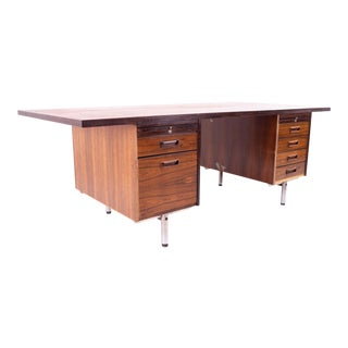 Mid Century Rosewood and Chrome Tanker Desk For Sale