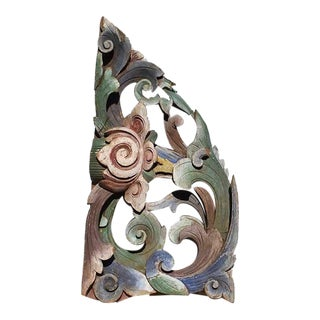 20th Century Antique Asian Floral Lotus Flower Carved Wood Corbel For Sale