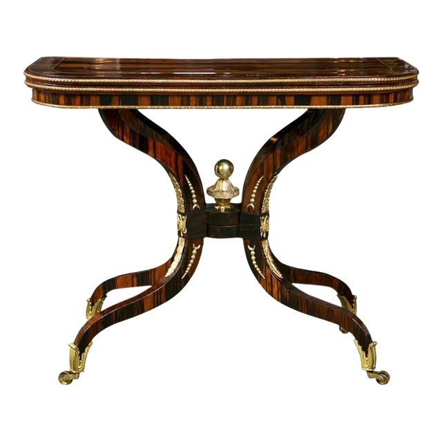 Regency Brass Inlaid Games Table For Sale