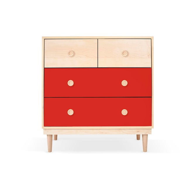 Contemporary Lukka Modern Kids 4-Drawer Dresser in Maple With Red Finish For Sale - Image 3 of 3
