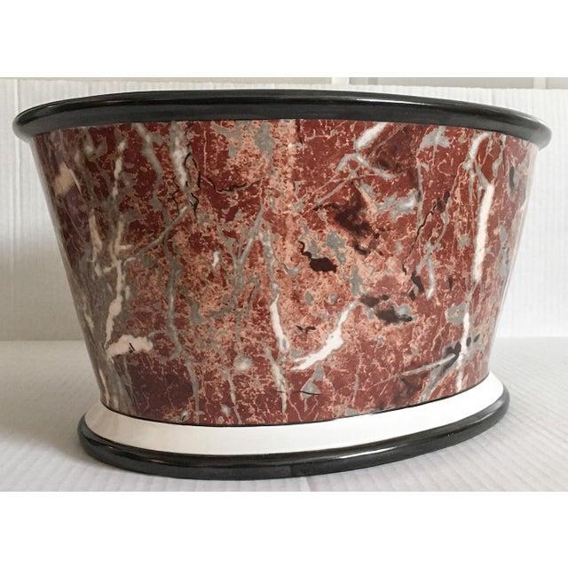 Large Italian Marbleized Ceramic Jardinere Planter - Image 7 of 9