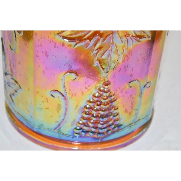 Lidded Iridescent Lime Green, Orange and Blue Carnival Glass Canisters - Set of 3 For Sale - Image 12 of 13