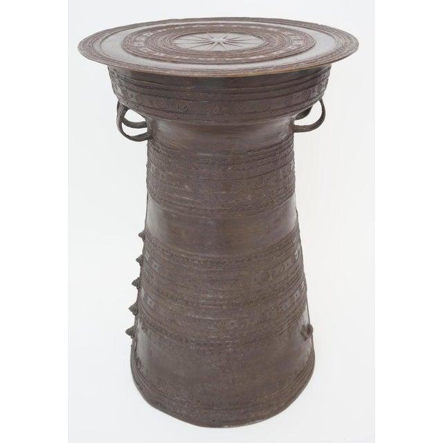 Metal Vintage Burmese Rain Drum in Bronze - Side Table or Drinks Table For Sale - Image 7 of 11