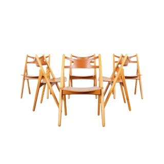 """Danish Modern """"Sawbuck"""" Ch-29 Dining Chairs by Hans J. Wegner - Set of 6 For Sale"""