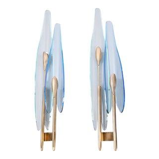 """Pair of """"dahlia"""" Blue Glass Sconces"""