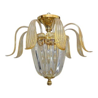 1980s Hollywood Regency Murano Glass Clear & Gold Inclusions Flush Mount Ceiling Light