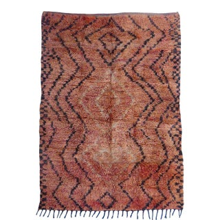Vintage Abstract Oulmes Moroccan Rug For Sale
