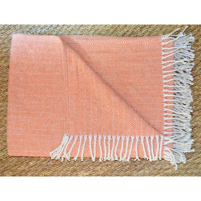 Italian Apricot and Cream Cotton Throw Blanket For Sale - Image 9 of 9