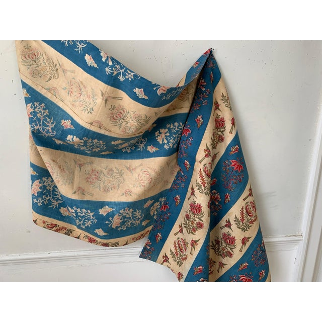 """French Antique French Fabric Floral And Stripe Indienne Fabric - 25.5x65.75"""" For Sale - Image 3 of 11"""