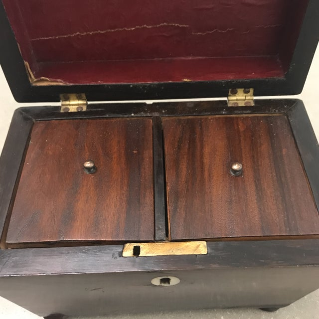English Traditional Antique Rosewood Double Caddy Box For Sale - Image 3 of 10