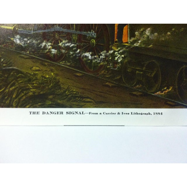 """American Currier & Ives Color Print, """"The Danger Signal - 1884"""", Circa 1950 For Sale - Image 3 of 4"""