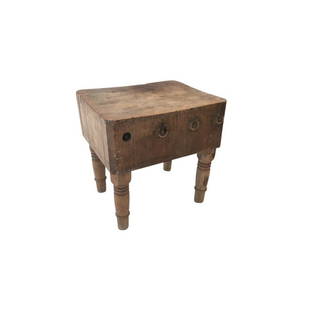 Early 20th Century Rustic American Antique Butcher Chopping Block Table For Sale - Image 4 of 6