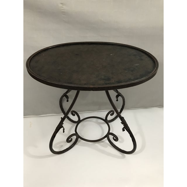 Oval Metal Side Table For Sale - Image 9 of 9