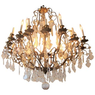 Palatial Bronze & Crystal Thirty-Light Chandelier For Sale