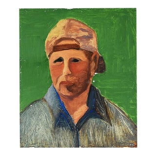 """Tall Vintage Contemporary Portrait Painting of a Man in Bright Green - 12"""" X 10"""" For Sale"""