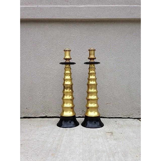 Large Vintage Brass Candlesticks - A Pair - Image 2 of 4