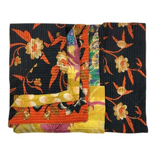 Rich Navy with Blossoms Rug and Relic Kantha Quilt
