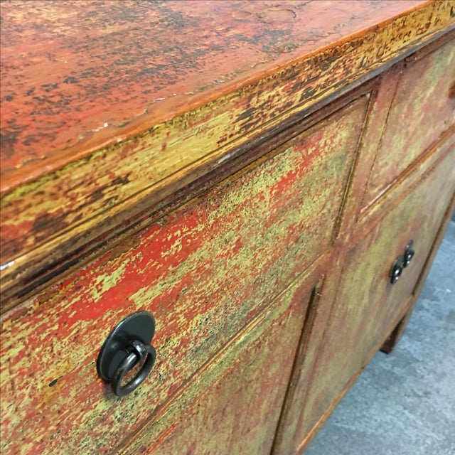 Vintage Asian-Style Distressed Sideboard - Image 7 of 8