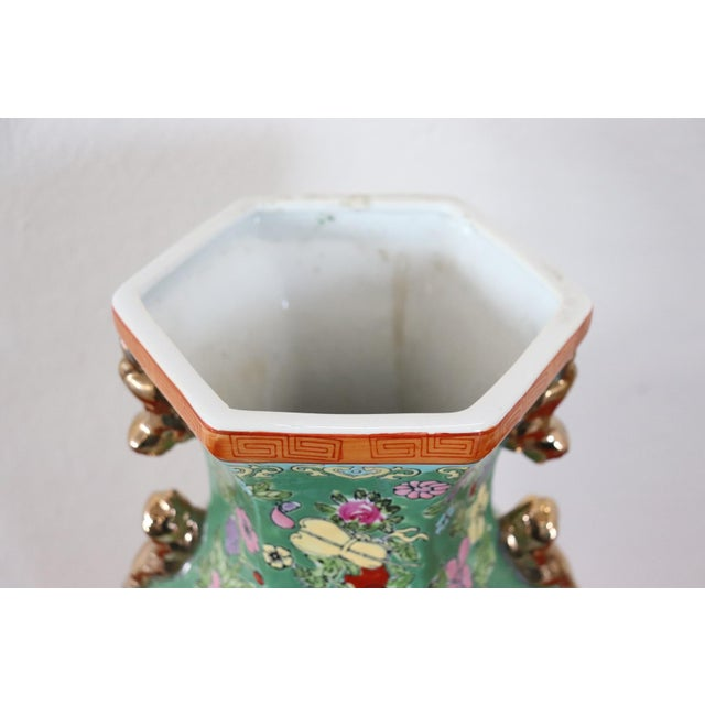 20th Century Chinese Vintage Artistic Vase in Ceramic Green and Floral Motifs For Sale - Image 4 of 11