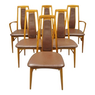 Koefoeds Hornslet Teak Mid Century Danish Modern Leather Dining Room Chairs - Set of 6 For Sale