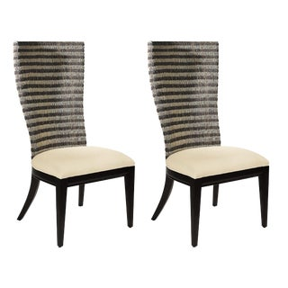 Organic Modern Artistica Bento Woven Back Dining Chairs - a Pair For Sale