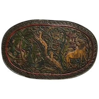 Carved Wood Plaque Depicting Animals For Sale