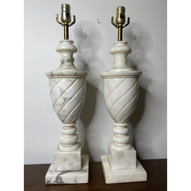 Antique Early 20th Century Neoclassical Marble Lamps - a Pair For Sale - Image 9 of 9