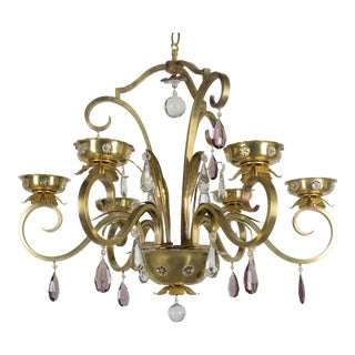 French Mid-Century Brass Chandelier For Sale