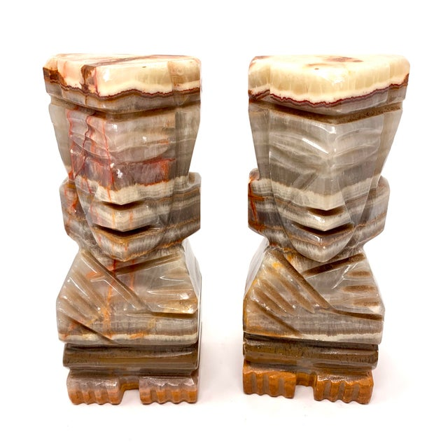 Mid-Century Modern Mid-Century Carved Stone Tiki Bookends - a Pair For Sale - Image 3 of 12