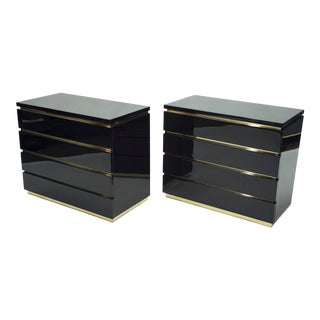 Pair of Small Black Lacquer Chest of Drawers by j.c. Mahey 1970s For Sale
