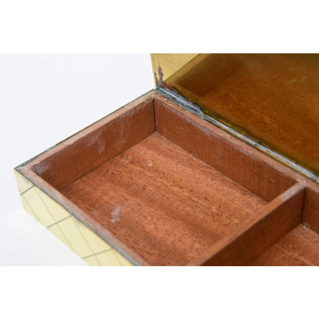 Tommi Parzinger Polished Diamond Criss Cross Brass and Wood Box - Image 8 of 9