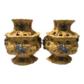 Country French Yellow and Blue Ceramic Tulipiers - a Pair